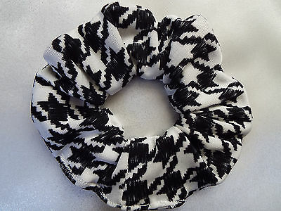 Black And White Dogtooth Houndstooth Scrunchie Hair Bobble Ladies Girls New