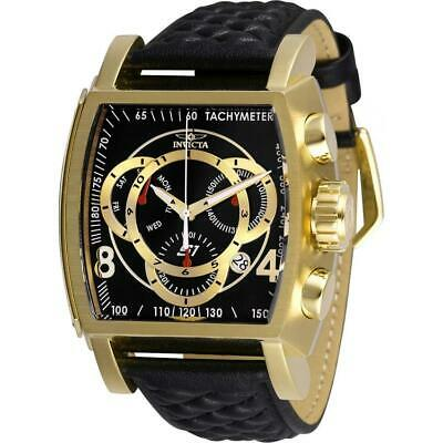 Invicta S1 Rally 27932 Men's Black/ Gold-Tone Genuine Leather Chronograph Watch