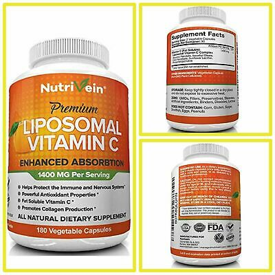 LIPOSOMAL VITAMIN C  1400mg Premium Supports Immune System 180CT by Nutrivein