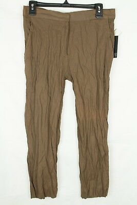 Brandon Thomas Women's Pants Crinkle Metallic Brown Capri's Semi Sheer Size M