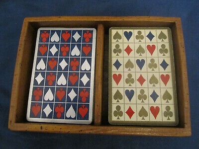 Vintage Canasta Playing Cards with Wooden Holder - Double Deck