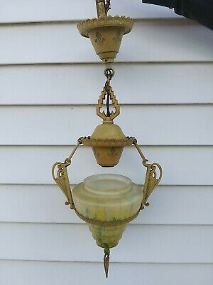 Antique Early Art Deco Beehive Hanging Light Fixture