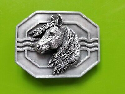 Vintage 1993 Horse Head with Feathers Belt Buckle #F-7 3D Native American Pewter