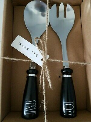 "NEW 2019 BLACK with ivory Rae Dunn LL ""TOSS"" and ""SERVE"" Salad Utensil Set NIB"