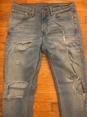 e49efecfac3 Levi's Strauss 511 Men's Slim Fit Premium Destroyed Distressed Washed Jeans  32