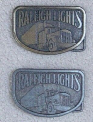 Belt Buckles (2) RALEIGH LIGHTS Trucking cigarettes Western Style