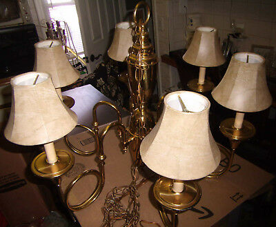 Vintage Hanging Light Fixture Chandelier 6 light with Lamp shades polished brass