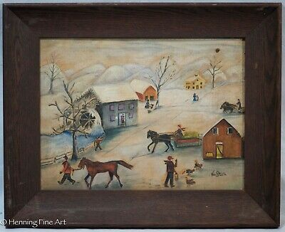 Vintage American Folk Art Painting Winter Landscape With Many Figures, Signed