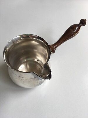 Silver Plate & Wooden Handle Sauce Or Brandy Warmer Spout Vintage