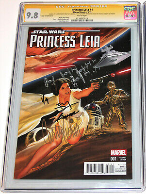 Star Wars Princess Leia #1 Cgc 9.8 Ss 3X Signed Carrie Fisher~Ross Color Variant