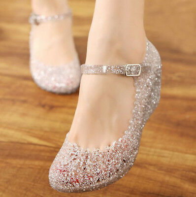 Women Ankle Strap Buckle Pumps Jelly Wedge Heels Sandal Casual Princess Shoes
