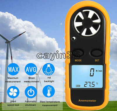 Digital Mini LCD Wind Speed Gauge Air Velocity Meter Anemometer NTC Thermometer
