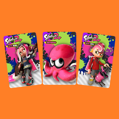 3PCS NFC Tag Game Cards Splatoon 2 Octoling Octopus Inkling for Nintendo Switch