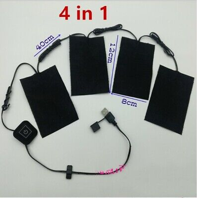 4 In 1 Electric USB Clothes Heating Pad Adjustable Temp Thermal Clothing Jacket