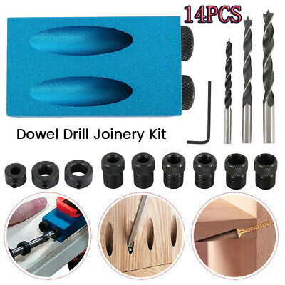 Silverline Pocket Hole Screw Jig with Dowel Drill Set Carpenters Wood Joint Tool