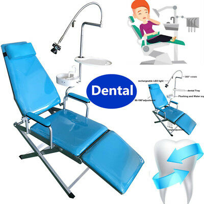NEW Dental Portable Folding Chair Flushing / Water supply system Tray LED light