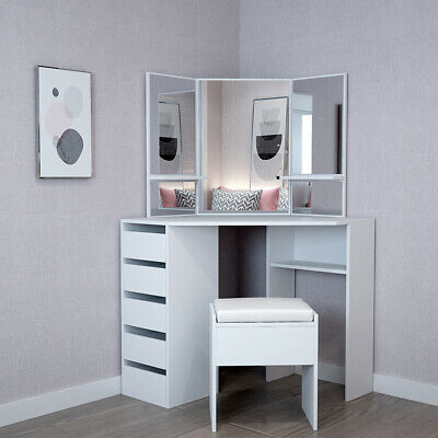 White Corner Dressing Table Set With Mirror Stool Make Up Desk Chair 5 Drawers