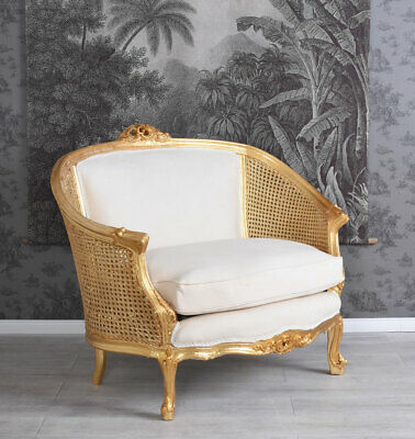 Sessel Barock Armlehnsessel Polstercouch Sofa Antik Weiss Gold Couch Holzsessel