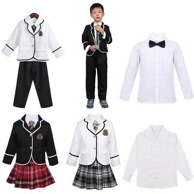 British Style Kid Boys Girls School Uniform Outfits Anime Costume Party Suit Set