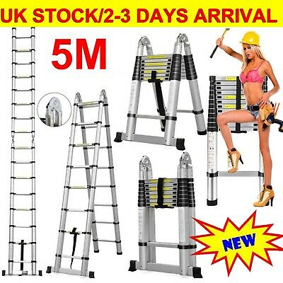 Heavy Duty Telescopic Ladder Extendable Folding Steps Ladder Long Loft Ladders