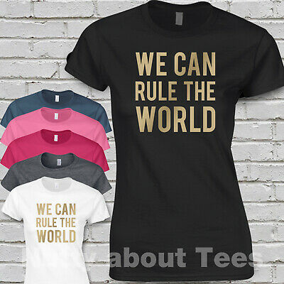 Take That Ladies Fitted T-shirt SONG LYRICS WE CAN RULE THE WORLD concert TOUR G