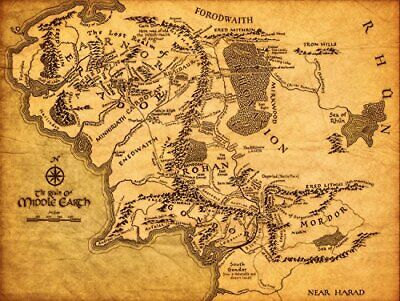 Map of Middle Earth The Lord of The Rings Fabric Canvas Cloth Poster Print