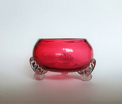 3 legged Cranberry Open Salt Cellar with Blackberry Prunt to the base