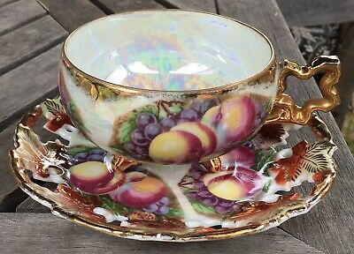 Fruit Gold Iridescent Lusterware Footed Tea Cup Saucer Royal Sealy China Japan