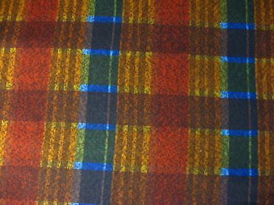 "vintage fabric 100% cotton PLAID brown blue 3yd +33"" material shirting quilting"