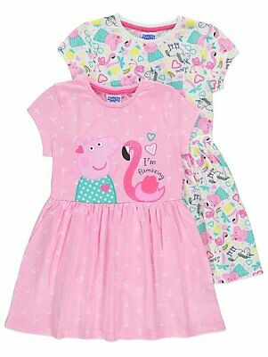 Peppa Pig Unicorn Jersey Dresses 2 Pack Girls ages 2-6 years BNWT