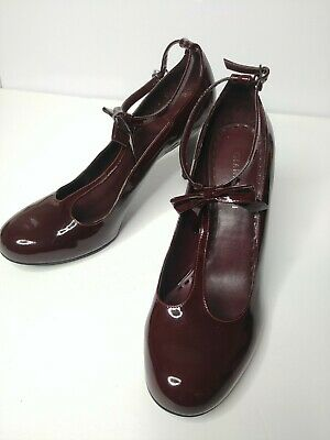 0ccdeeb8627 Gianni Bini US 9 Heaven Red Maroon Patent T Strap Ankle Bow Heels Retro Pin  Up