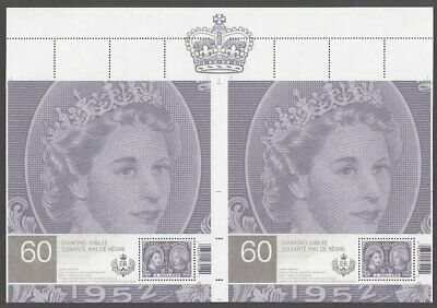 X-LARGE cut from UNCUT sheet #2540ai QUEEN = pos.2,3 S/Ss Canada 2012 MNH VF