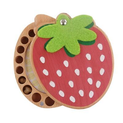 Strawberry Box Souvenir Tooth Collection Wooden Baby Deciduous Teeth Storage Box