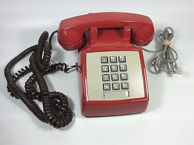 Vintage AT&T Bell System Red PUSH BUTTON Touch Tone desk phone telephone