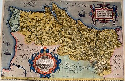 Portugalliae Que Olim - Ortelius 1584 Original Antique Print Karte Map Portugal