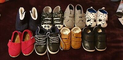 Bundle Of 8 Pairs Boys Shoes Baby to Toddler inc Clark's, Tom's & Next Immaculat