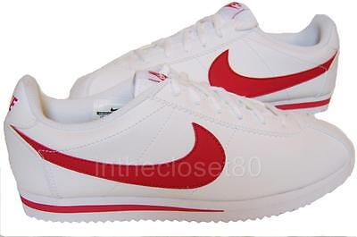 500a541d Nike Cortez GS Leather White Red Juniors Womens Girls Boys Trainers 749482
