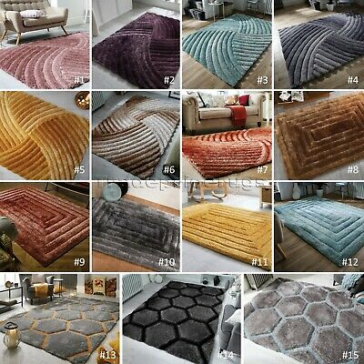 Small - Large Thick 3D Textured Heavyweight Soft Carved Pile Verge Rugs