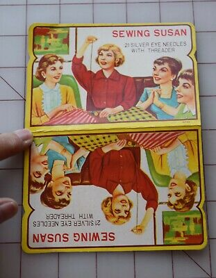 7350 Vintage small Sewing Susan paper needle Book, graphics of sewing ladies