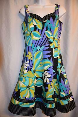 c361795e2eb NINE WEST - size 4 - Black Blue Green FLORAL PRINT mod twirl summer dress  TEA