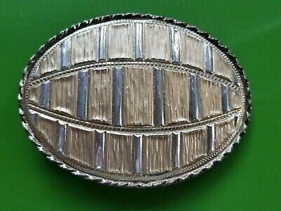 Vintage 80s Western and Cowboy Belt Buckle Gold & Silver Tone Rockmount (W)