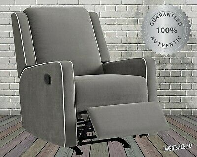 Rocking Recliner Chair Pocket Coil Comfy Gray Upholstered Seat Lazy Boy HardWood