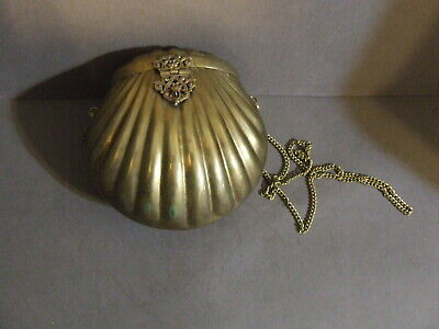 Antique Art Deco Flapper Brass Metal Velvet Lined Clam Shell Evening Bag Purse