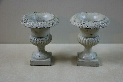 """Rare Antique Pair Of Miniauture / Small Cast Iron Urns 5.25"""" Shabby Chic Cottage"""