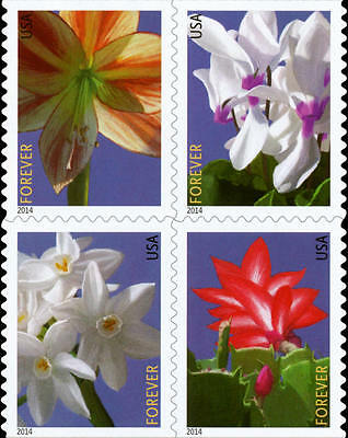 2014 49c Winter Flowers, Booklet Block of 4 Scott 4862-65 Mint F/VF NH