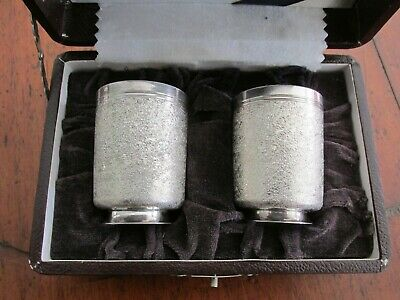 Vintage Sterling Silver Japanese or Asian Sake Cups in Original Box As New