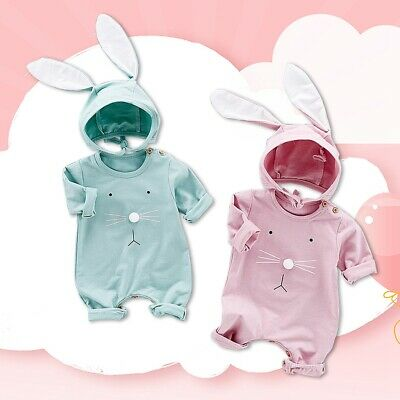 Breathable Long Sleeve Playsuit Funny Baby Jumpsuit One-Pieces with Rabbit Hat