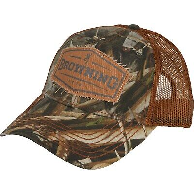 Browning Men/'s Black Cap Snap Shot Mobuc Brown Mesh Back Truckers Hat 3281