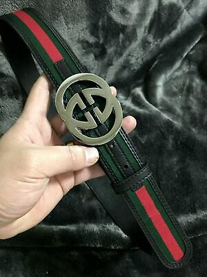 3ddc503e4e5 NEW Silver Snake GUCCI-Men s Green Red Black Leather Belt 32- 34 Waist size