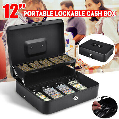 Portable Security Lockable Cash Box Tiered Tray Money Drawer Safe Storage 2 Keys